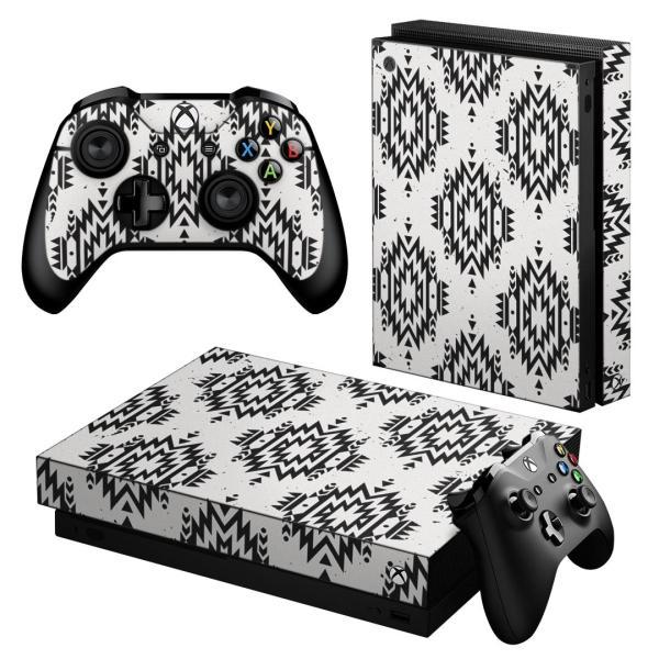 「宅配便専用」igsticker Xbox One X 専用 デザインスキンシール エックスボックス ワン ステッカー 保護  ネイティブ柄 白 黒 010891