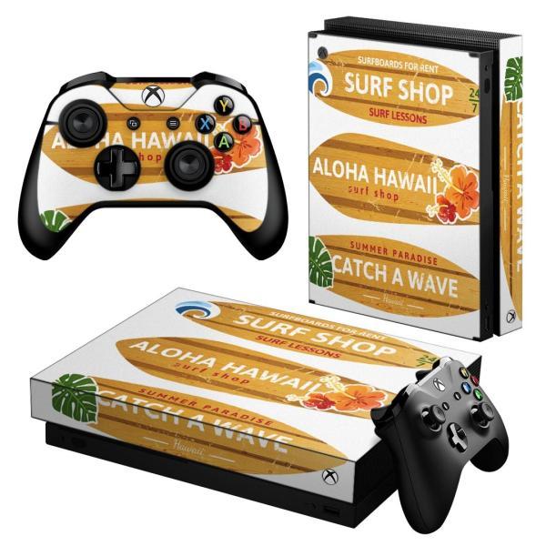 「宅配便専用」igsticker Xbox One X 専用 デザインスキンシール エックスボックス ワン ステッカー 保護  サーフィン リーフ ハイビスカス 014483