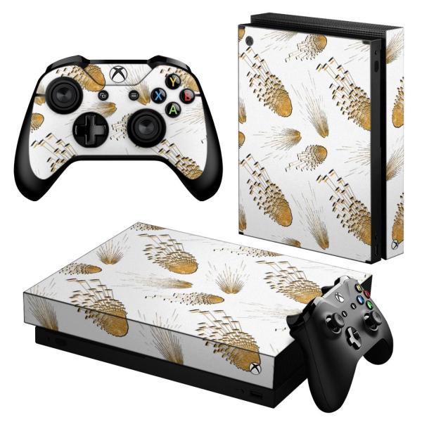 「宅配便専用」igsticker Xbox One X 専用 デザインスキンシール エックスボックス ワン ステッカー 保護  模様 羽 白 014853