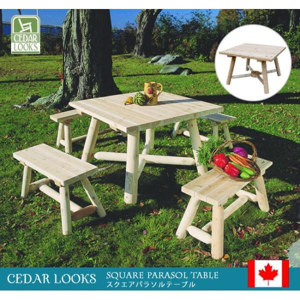 Cedar Looks スクエアパラソルテーブル NO130|emiook|02
