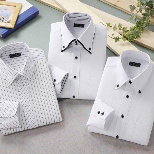 ボタンダウン&トレボットーニ・ホワイト系ワイシャツ・3枚セット
