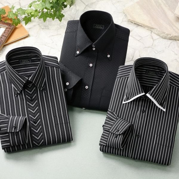 ドゥエボットーニ&トレボットーニ・ブラック系ワイシャツ・3枚セット