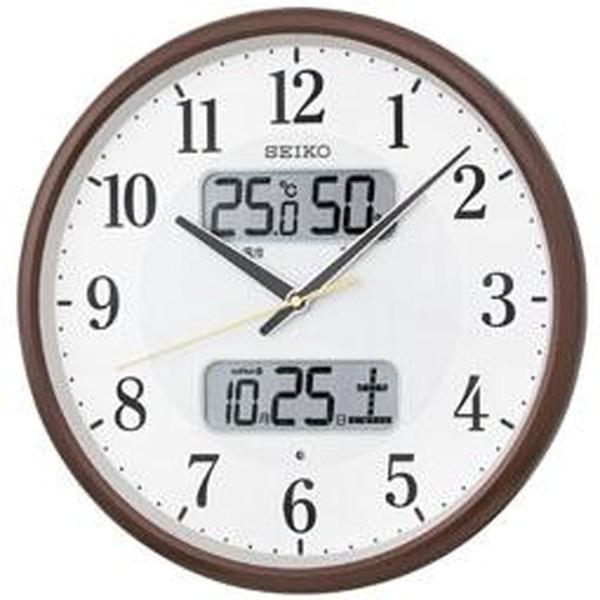 SEIKO セイコー 掛け時計 液晶表示付 電波 アナログ カレンダー 温度 湿度表示 茶メタリック KX383B【お取り寄せ】|empire-clock