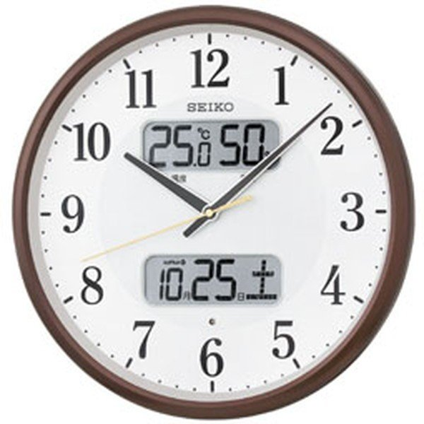 SEIKO セイコー 掛け時計 液晶表示付 電波 アナログ カレンダー 温度 湿度表示 茶メタリック KX383B【お取り寄せ】|empire-clock|02