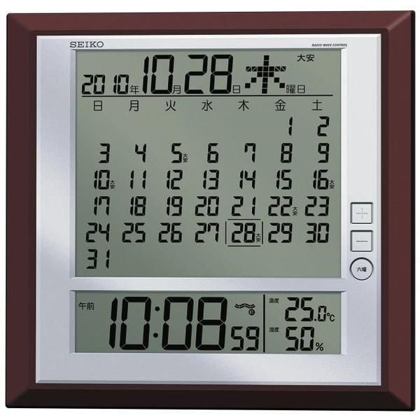セイコー 掛置兼用時計 月めくりカレンダー・電波 デジタル 六曜・温度・湿度表示 茶メタリック SQ421B|empire-clock