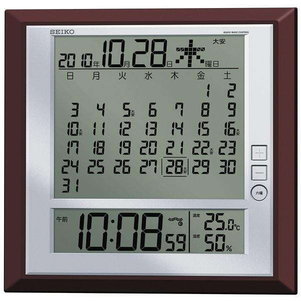 セイコー 掛置兼用時計 月めくりカレンダー・電波 デジタル 六曜・温度・湿度表示 茶メタリック SQ421B|empire-clock|02