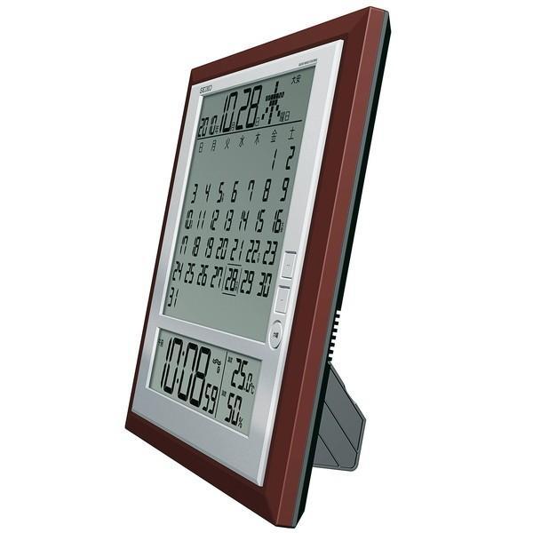 セイコー 掛置兼用時計 月めくりカレンダー・電波 デジタル 六曜・温度・湿度表示 茶メタリック SQ421B|empire-clock|03