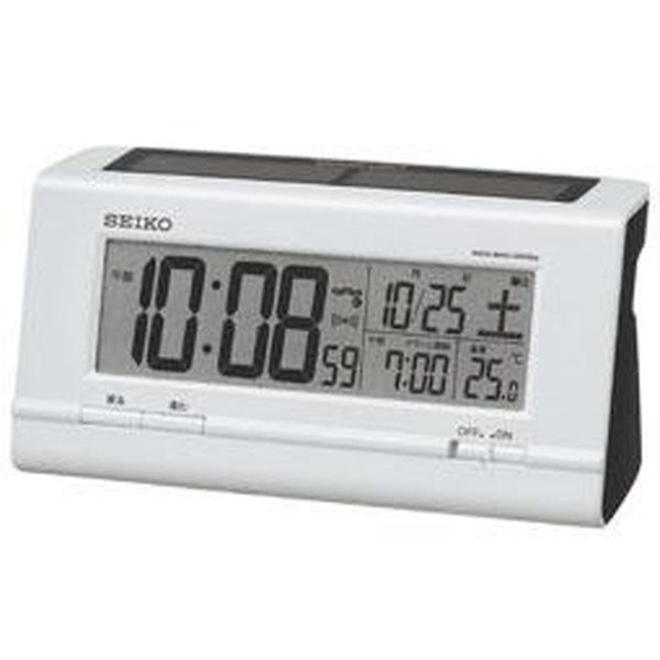 SEIKO セイコー 目覚まし時計 ハイブリッドソーラー 電波 デジタル カレンダー 温度表示 白パール SQ766W【お取り寄せ】|empire-clock
