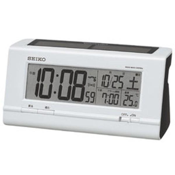セイコー 目覚まし時計 ハイブリッドソーラー 電波 デジタル カレンダー・温度表示 白パール SQ766W|empire-clock|02