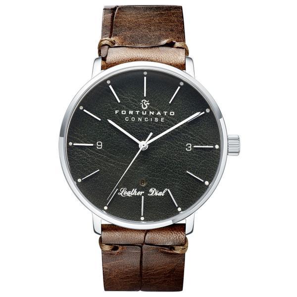 腕時計 メンズ イタリアンレザー 本革 FORTUNATO フォルトゥナート コンサイス 44mm レザーダイヤル グリーン/シルバー|empire