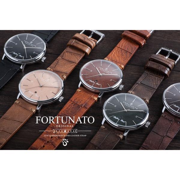 腕時計 メンズ イタリアンレザー 本革 FORTUNATO フォルトゥナート コンサイス 44mm レザーダイヤル グリーン/シルバー|empire|02