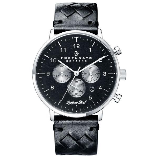 クロノグラフ 腕時計 メンズ イタリアンレザー 本革 FORTUNATO フォルトゥナート クリエイター 44mm レザーダイヤル ブラック/シルバー|empire