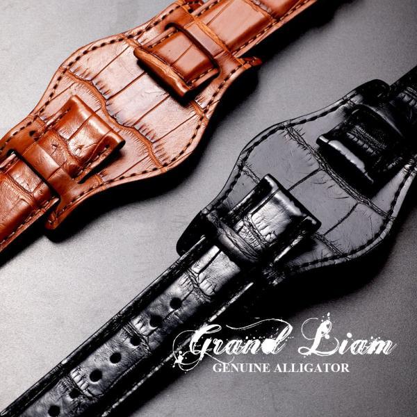 時計 ベルト ワニ EMPIRE Premium GRAND LIAM グランド リアム アリゲーター イタリアン耐汗ライニング BUND ブンド 時計 ベルト 18mm 20mm 22mm|empire