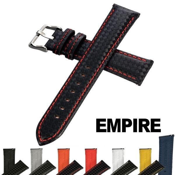 時計 腕時計 ベルト バンド  EMPIRE  革 イタリアンレザー カーボン 18mm 20mm 22mm  イージークリック|empire|02