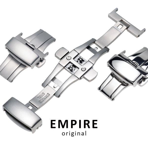 EMPIRE 316L プッシュボタン 跳ね上げ Dバックル 18mm 20mm 22mm シルバー|empire
