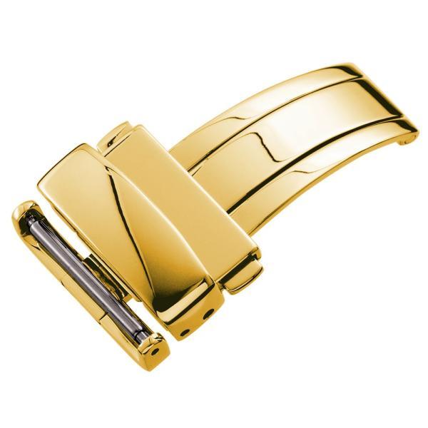 WAQUIZ ワクイズ ダブルプッシュ式 三つ折れ Dバックル ゴールド 12mm 14mm 16mm 18mm|empire