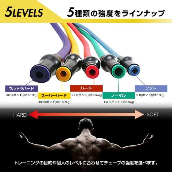 トレーニングチューブ ウルトラハード フィットネスチューブ 肩 背中 腰 腕 胸 体幹 筋肉 トレーニングチューブ  ジム エクササイズ マッチョ トレーニング ゴ|empt|12