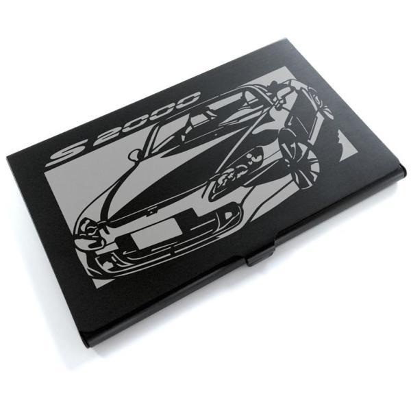 切り紙屋 ブラックアルマイト「ホンダ(HONDA) S2000」切り絵デザインのカードケース[CC-019][M便1/4][メーカ直送品]
