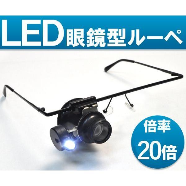 LEDライト付眼鏡型ヘッドルーペ 倍率20倍!(メガネ型拡大鏡)宝石鑑定や時計修理などにも