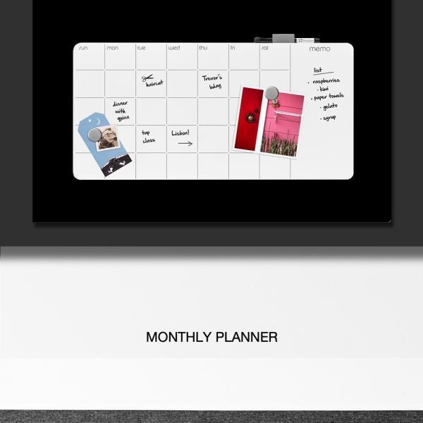 ホワイトボード スケジュールボード 月 予定表 おしゃれな 壁掛け マンスリー プランナー ガラス製|enitusa