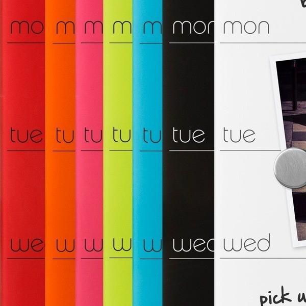 スケジュールボード ホワイトボード おしゃれな 壁掛け 週間 予定表 ガラス製 ウィークリー プランナー 51cm×14cm 全7色|enitusa|02