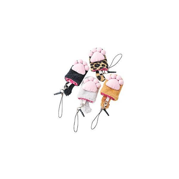 携帯メガネ拭き ネコの手グッズ肉球クリーナー スマホストラップ付き enneashop
