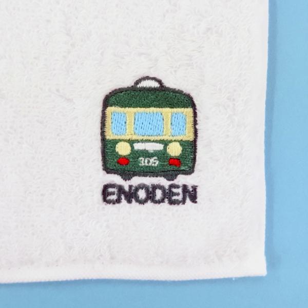 江ノ電タオルハンカチ ホワイト|enoden-goods|02