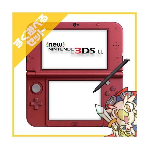 New3DSLL Newニンテンドー3DS LL メタリックレッド(RED-S-RAAA) 本体 すぐ遊べるセット Nintendo 任天堂 ニンテンドー 中古 送料無料|entameoukoku