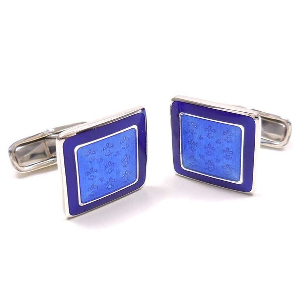 カフスボタン カフリンクス イニシャル名入れ刻印 シルバー925 リリー模様 ブルー枠 イタリア製 ベルフィオーレ メンズ プレゼント ギフト