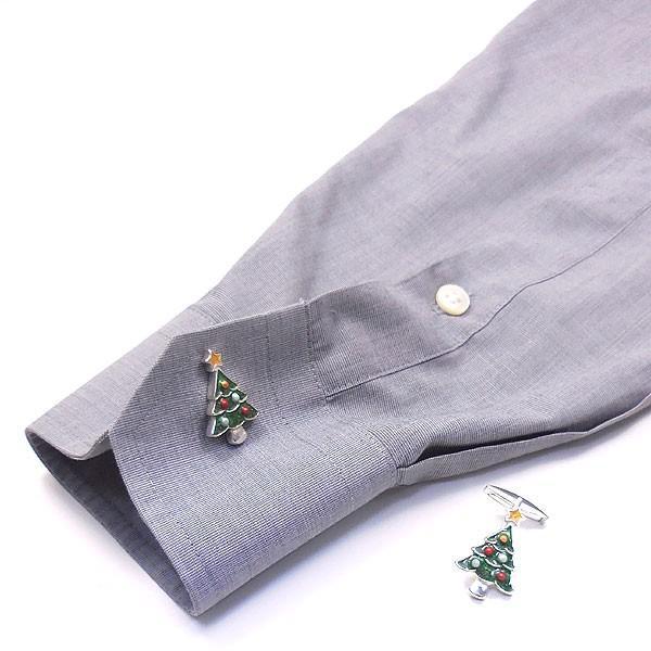クリスマスツリーの銀製カフリンクス
