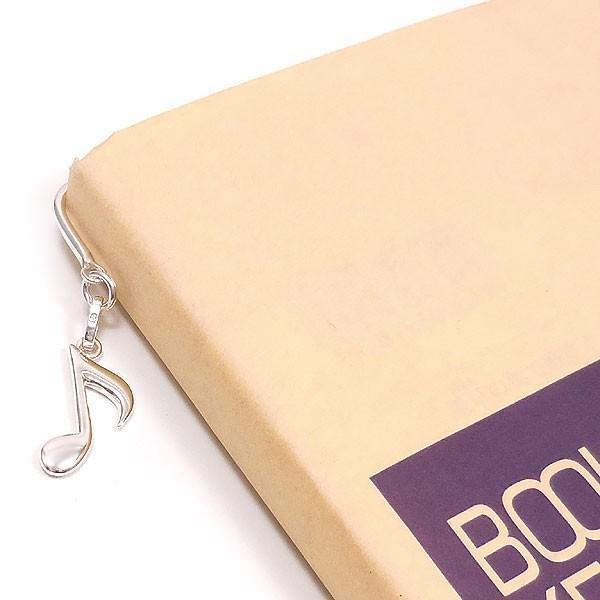 8分音符チャームの銀製ブックマーカー