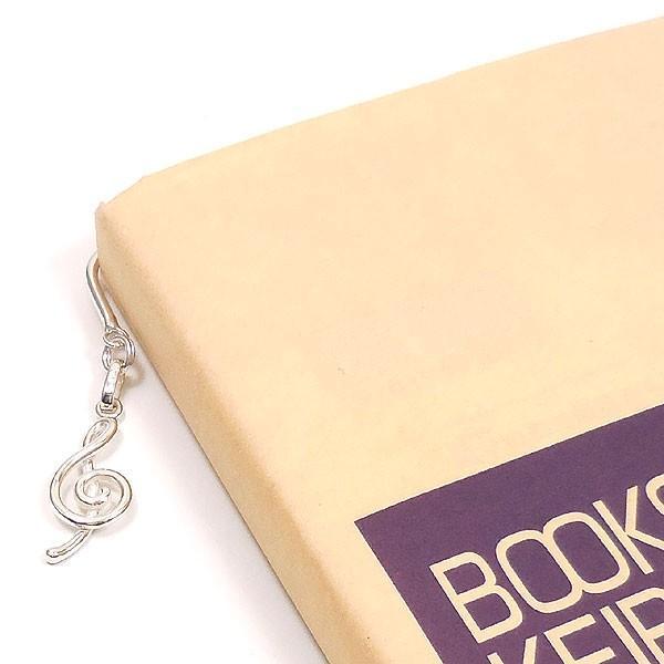 ト音記号チャームの銀製ブックマーカー