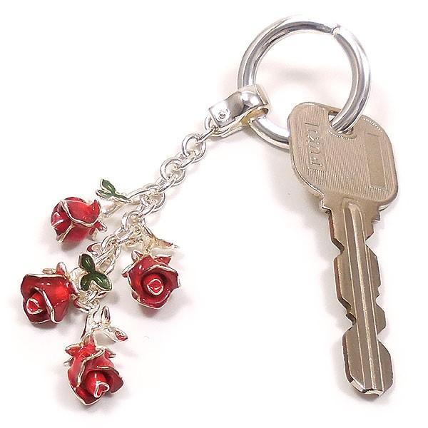 サツルノ:薔薇の銀製キーホルダー