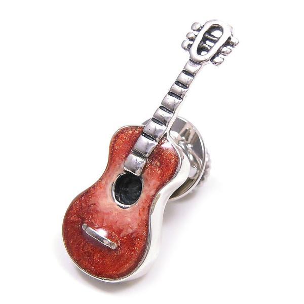 ピンブローチ ラペルピン 楽器 ギター エナメルあり シルバー925 サツルノ