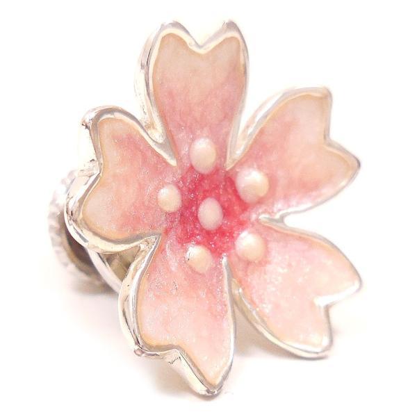 ピンブローチ ラペルピン 花 フラワー 桜 シルバー925 サツルノ