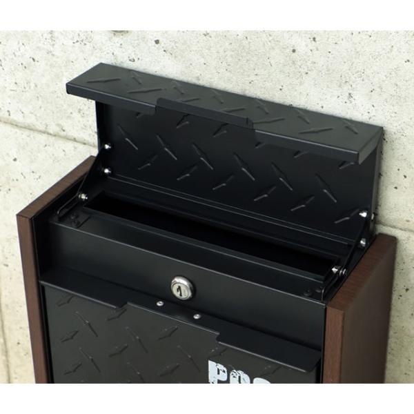 ヤマソロ 壁掛けポスト グリル 73-106(BK) ブラック色 鍵付き|entorance|02