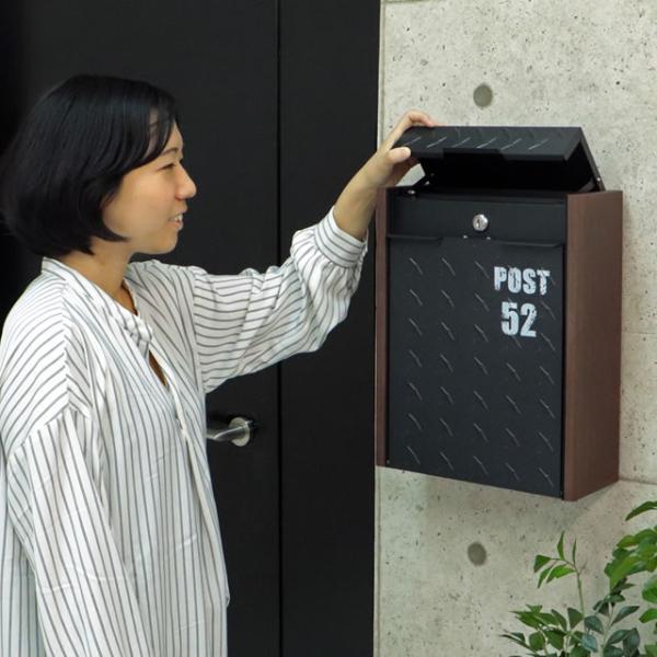 ヤマソロ 壁掛けポスト グリル 73-106(BK) ブラック色 鍵付き|entorance|04