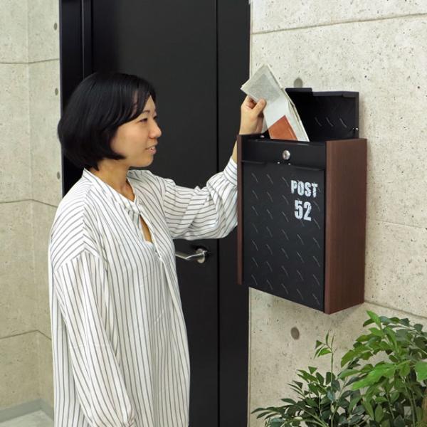 ヤマソロ 壁掛けポスト グリル 73-106(BK) ブラック色 鍵付き|entorance|05