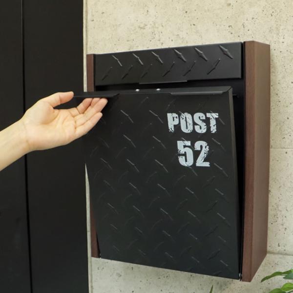 ヤマソロ 壁掛けポスト グリル 73-106(BK) ブラック色 鍵付き|entorance|07
