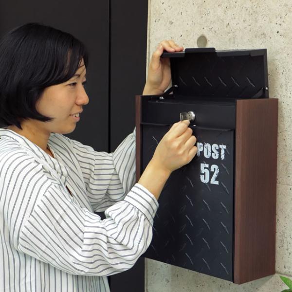 ヤマソロ 壁掛けポスト グリル 73-106(BK) ブラック色 鍵付き|entorance|08