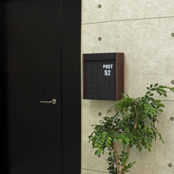 ヤマソロ 壁掛けポスト グリル 73-106(BK) ブラック色 鍵付き|entorance|09
