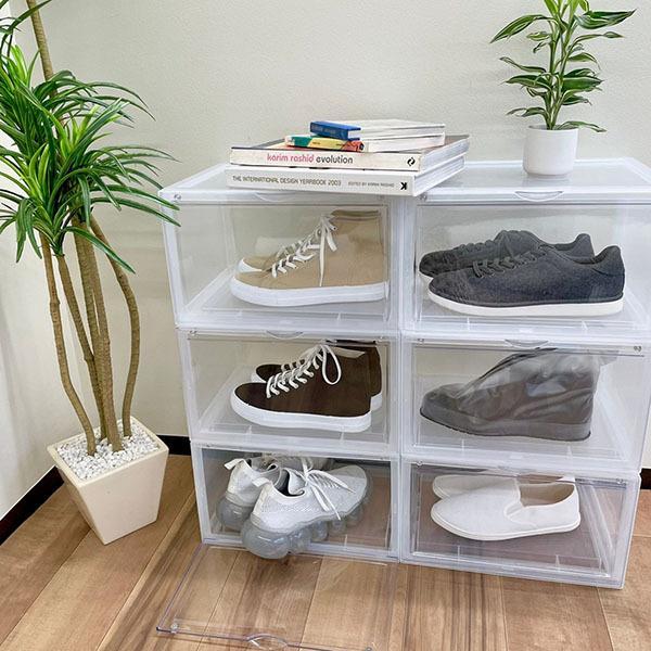 【ノベルティプレゼント】 b.c.l シューズケース KD サイド | まとめ売り まとめ買い 6個セット クリア ブラック 収納 ボックス スニーカー 靴 ケース