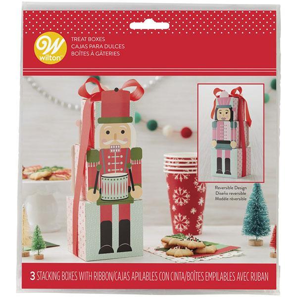ギフトボックス ナッツクラッカークッキーボックス 3枚 Wilton ウィルトン ウィルトン クリスマス マフィン カップケーキ サンタ 箱 ボックス プレゼント