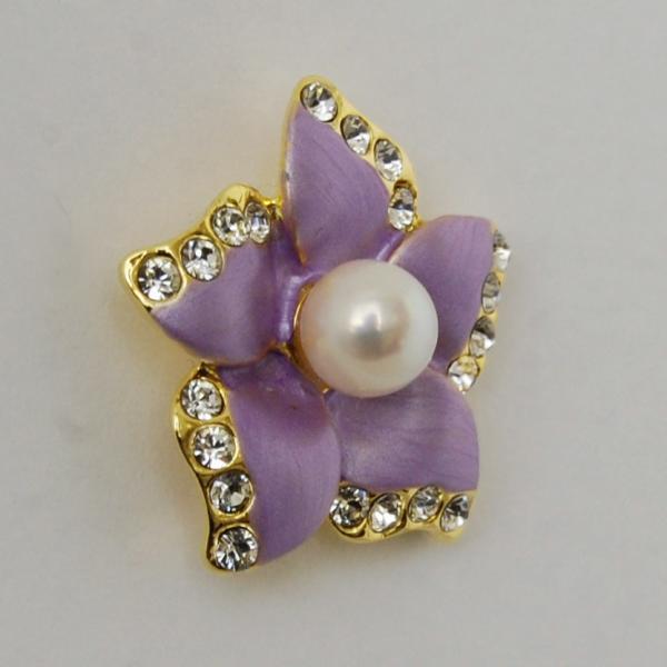 ピンブローチ タックブローチ アコヤ真珠 お花のデザイン パール ブローチ (紫) アクセサリー メンズ レディース 通販 スカーフ留め
