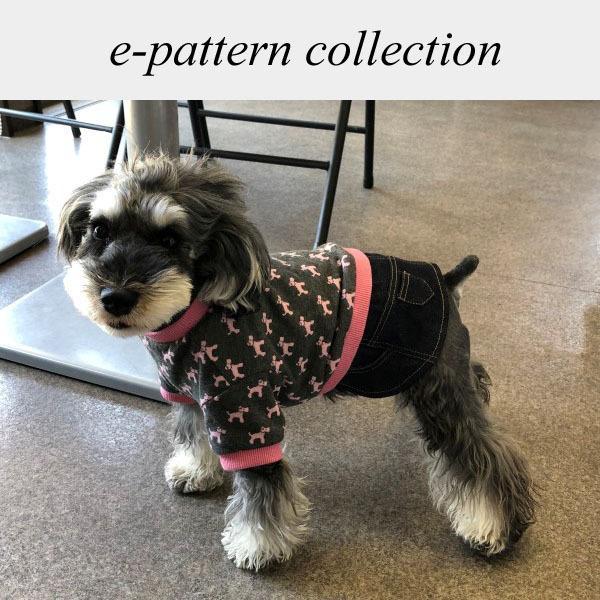 犬服型紙 デニムスカート付きTシャツ 小型犬 小型犬ロング 中型犬用 テキスト付き