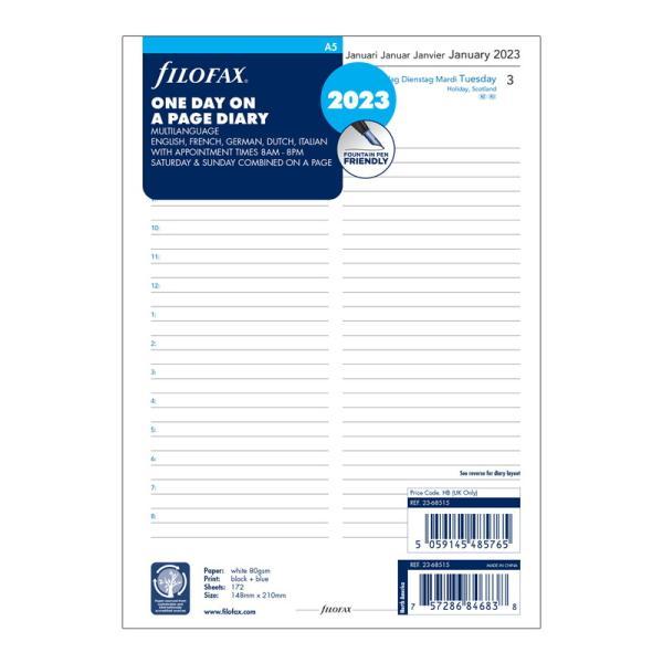 《1日1ページ》FILOFAX 2022年 システム手帳リフィル A5サイズ デイリー 22-68515 ファイロファックス 日付入り レフィル