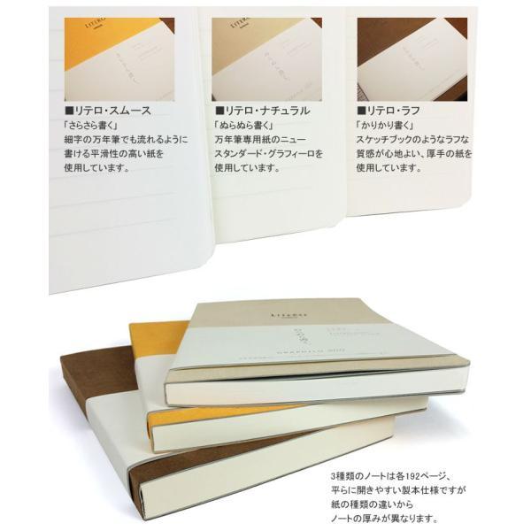 NAGASAWA 万年筆をもてなすノート LITERO リテロ・スムース 「さらさら書く」 A5 8mm横罫 (ナガサワ文具センター オリジナル/万年筆用ノート/こだわりノート|erfolg|03