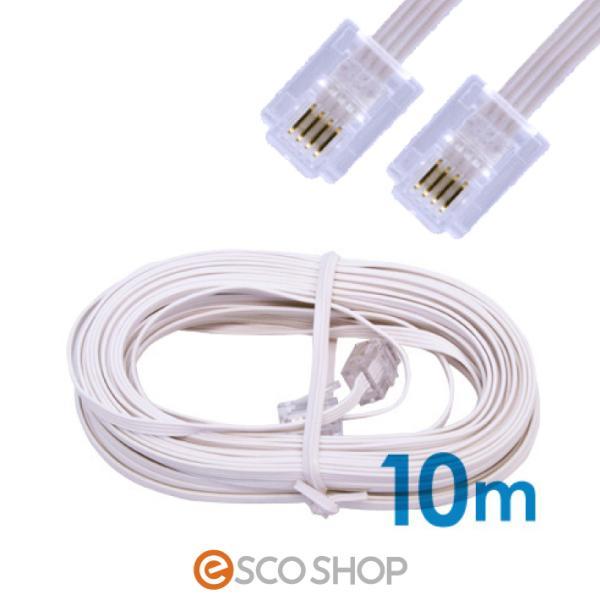 電話線 モジュラーケーブル 10m 薄型 フラットタイプ 電話コード 電話ケーブル メール便送料無料|escoshop