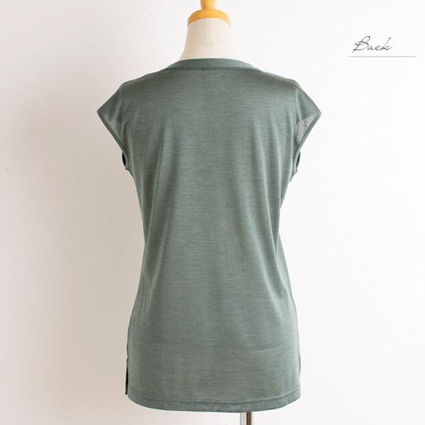 シルク100% フレンチ袖 トップス レディース イエロー グリーン ブルー M/L eses 05