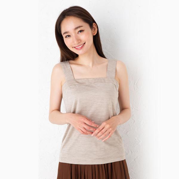 シルク100% ジャージー チラ見え防止 ベアトップ風 タンクトップ 日本製 レディース デコルテフィットで胸元カバー|eses